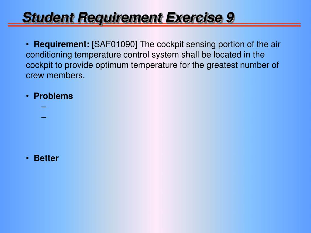Student Requirement Exercise 9