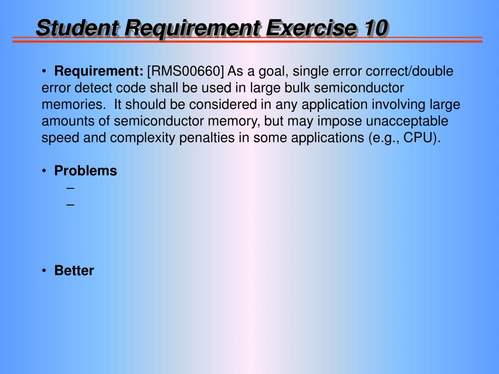 Student Requirement Exercise 10
