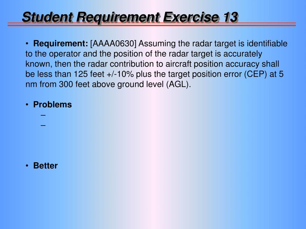 Student Requirement Exercise 13