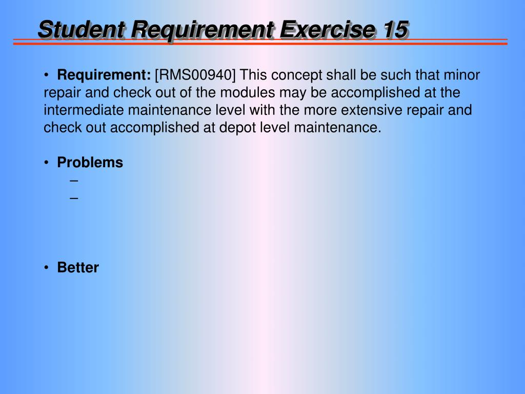 Student Requirement Exercise 15