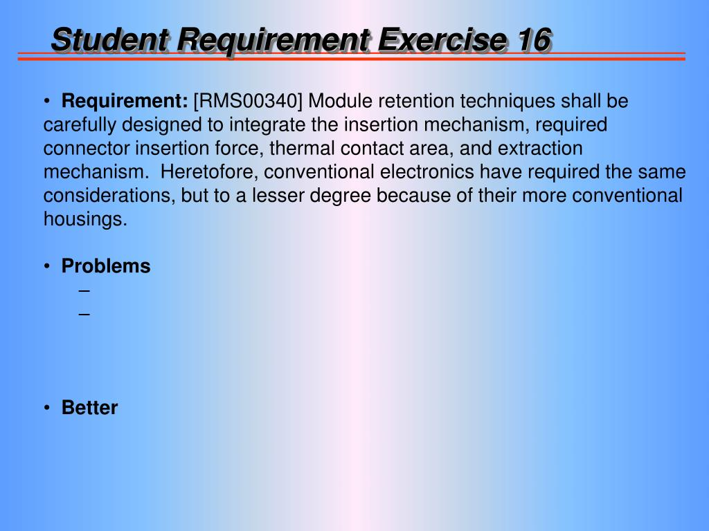 Student Requirement Exercise 16