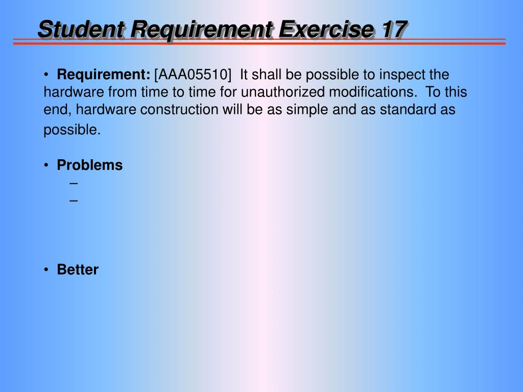 Student Requirement Exercise 17