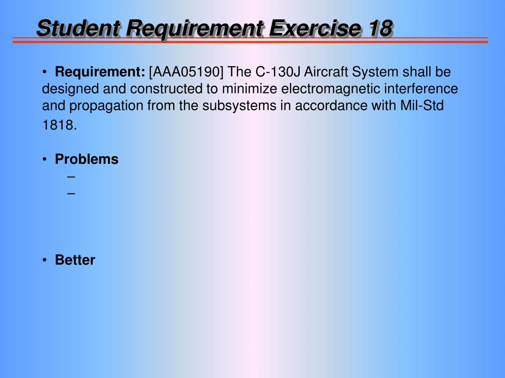 Student Requirement Exercise 18