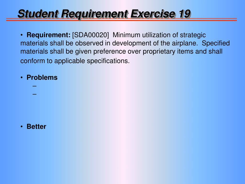 Student Requirement Exercise 19