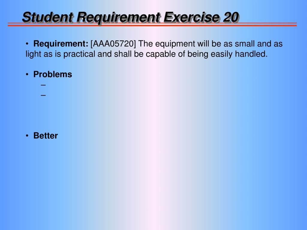 Student Requirement Exercise 20