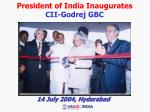 president of india inaugurates cii godrej gbc