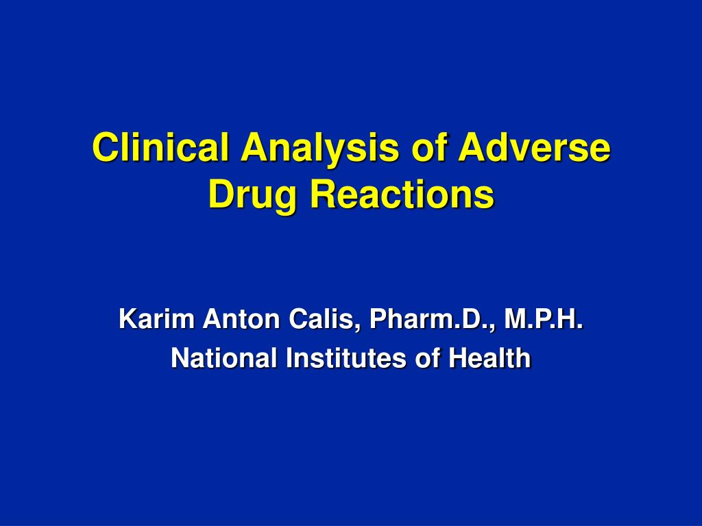 clinical analysis of adverse drug reactions l.