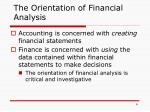 the orientation of financial analysis