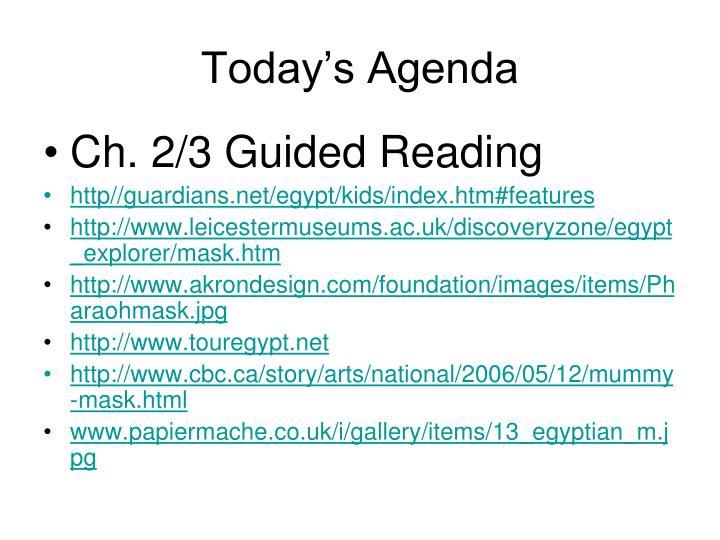 today s agenda n.