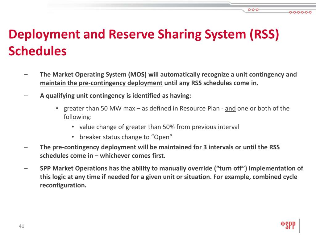 Deployment and Reserve Sharing System (RSS) Schedules