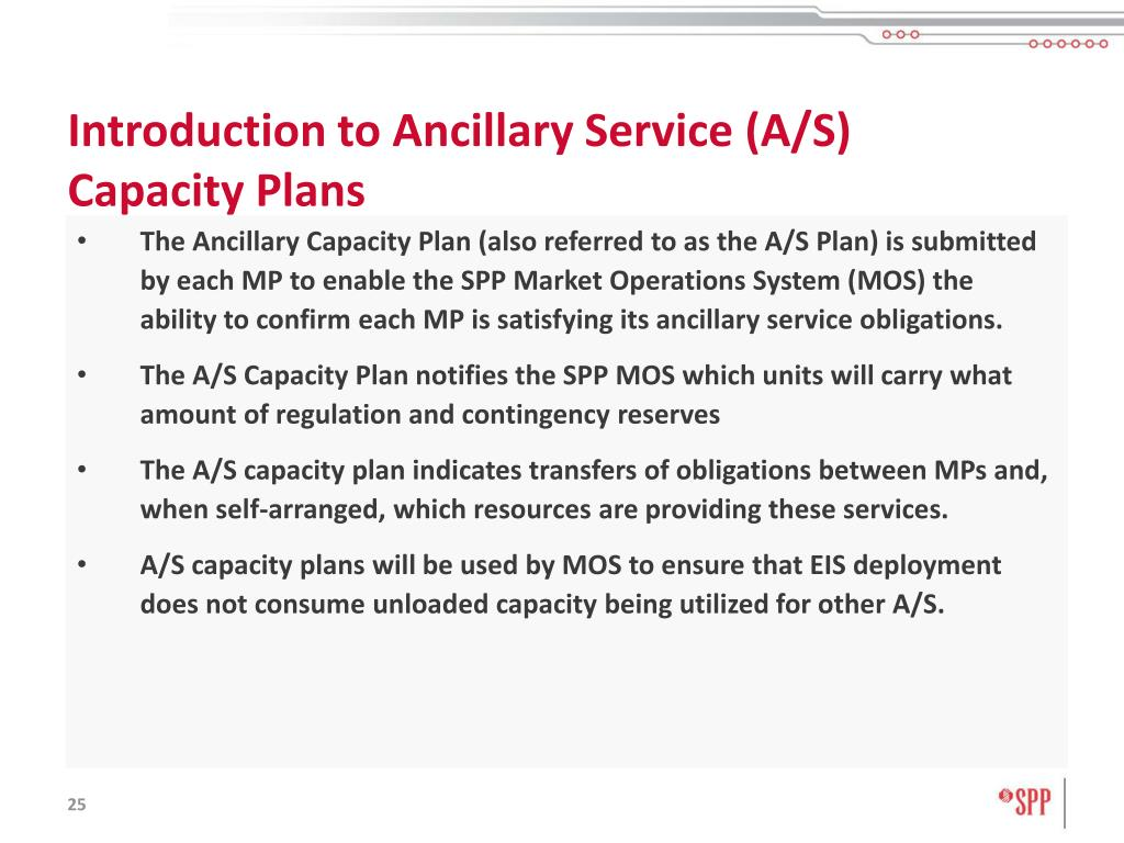 Introduction to Ancillary Service (A/S) Capacity Plans