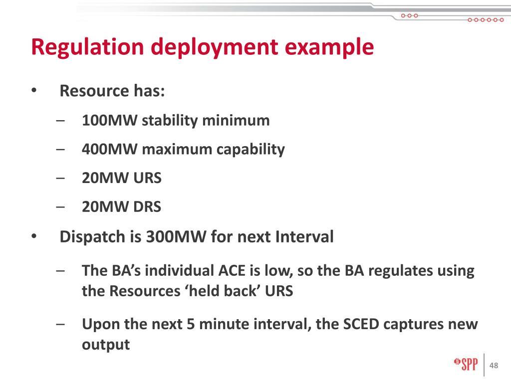 Regulation deployment example