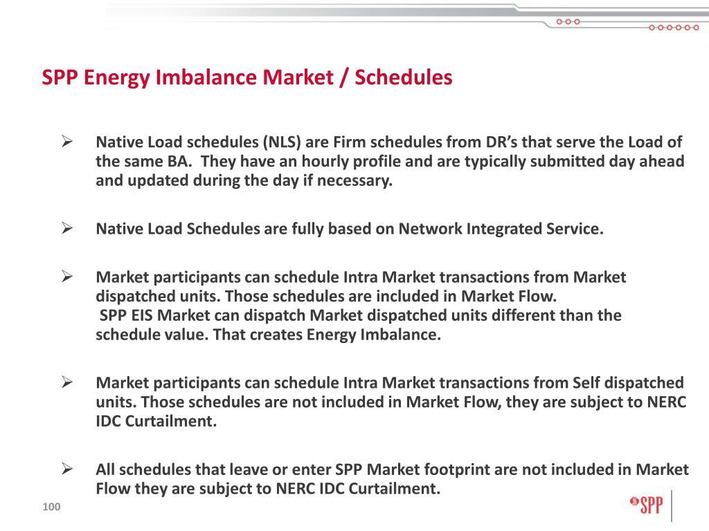SPP Energy Imbalance Market / Schedules