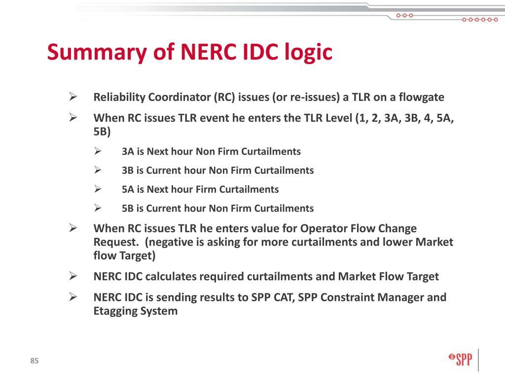 Summary of NERC IDC logic