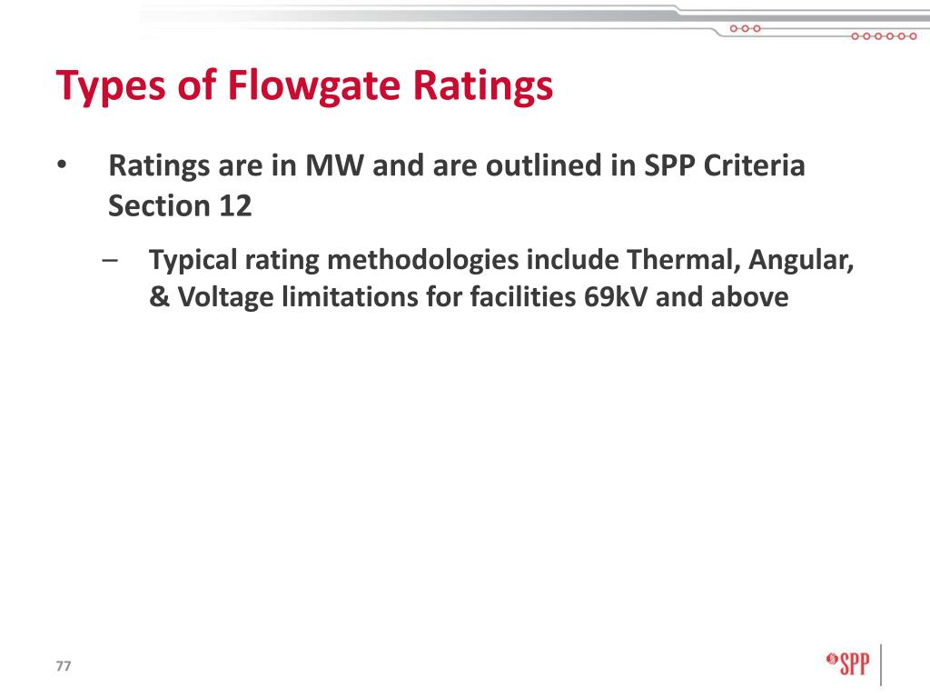 Types of Flowgate Ratings