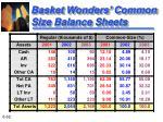 basket wonders common size balance sheets