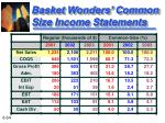 basket wonders common size income statements