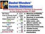 basket wonders income statement