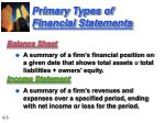 primary types of financial statements