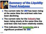 summary of the liquidity trend analyses