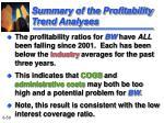 summary of the profitability trend analyses