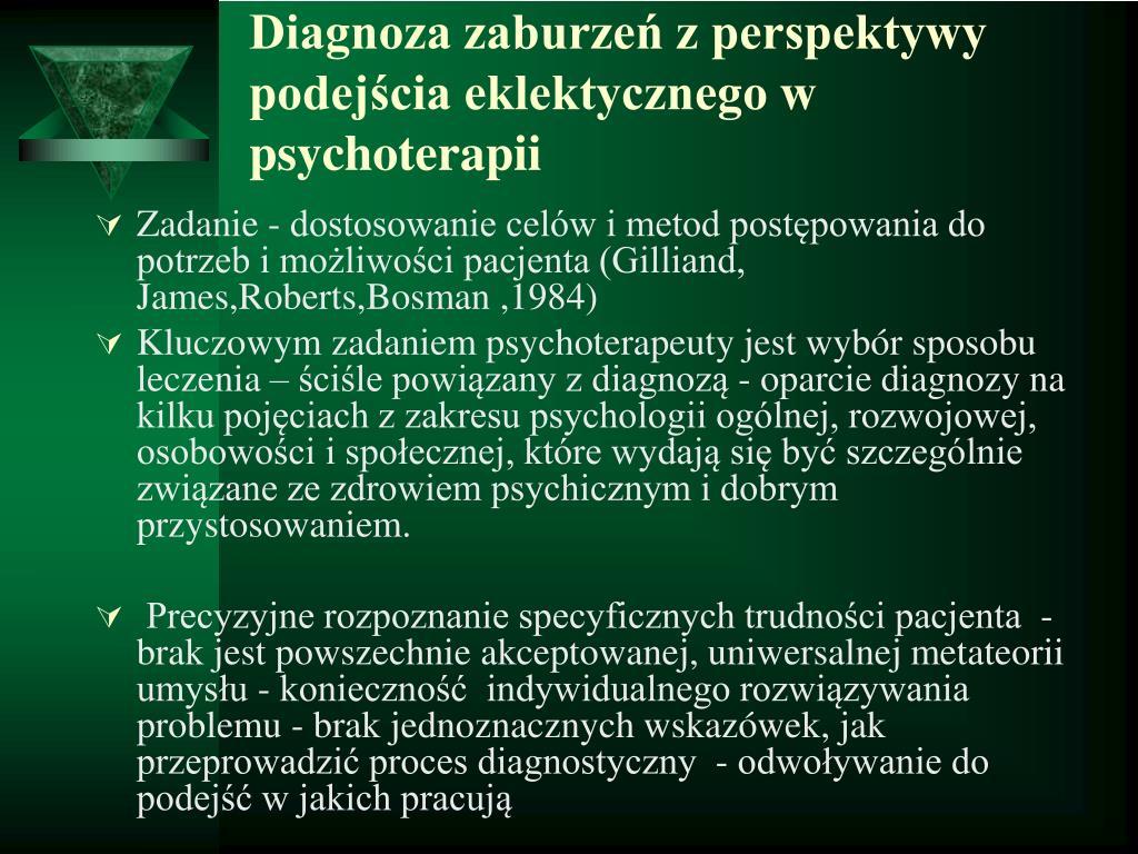 Diagnoza zaburzeń z perspektywy podejścia eklektycznego w psychoterapii