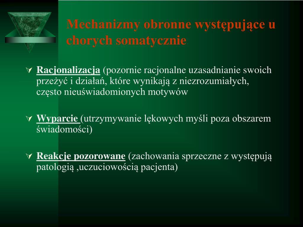 Mechanizmy obronne występujące u chorych somatycznie