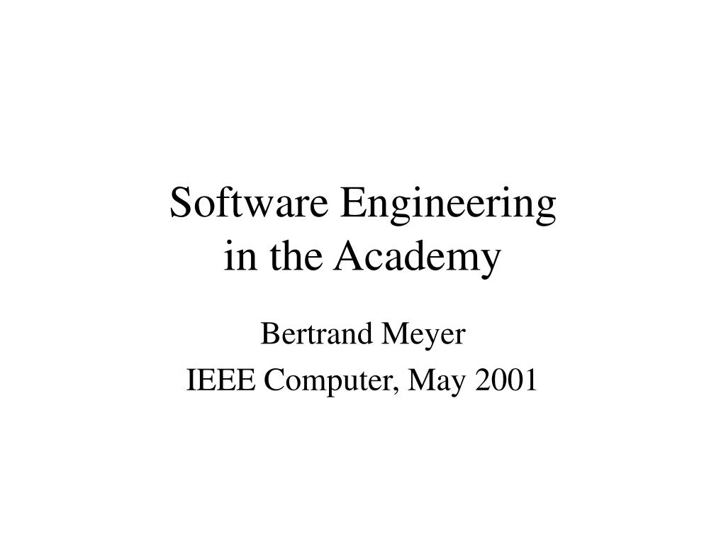 software engineering in the academy l.