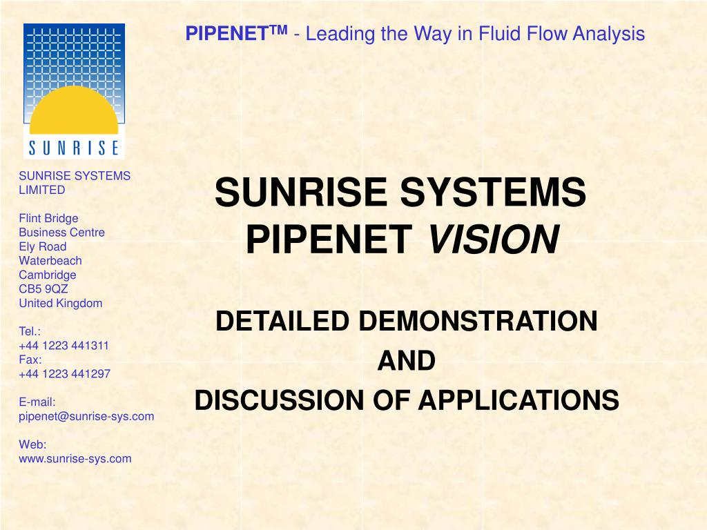 sunrise systems pipenet vision l.