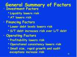 general summary of factors