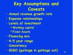 key assumptions and caveats