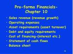 pro forma financials chapter 10