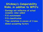 stickney s comparability risks in additon to wfo s