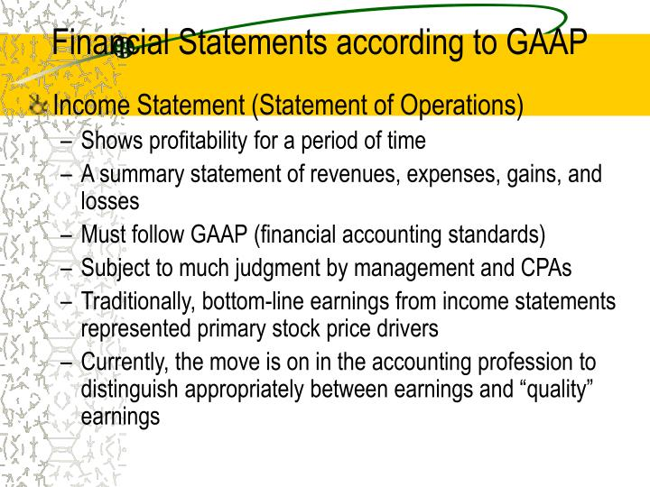 financial statements according to gaap n.
