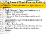 the balance sheet financial position