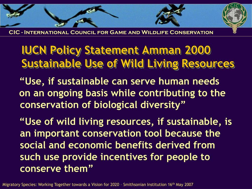IUCN Policy Statement Amman 2000