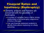 financial ratios and insolvency bankruptcy