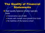 the quality of financial statements62