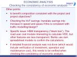 economic analysis checking the consistency of economic analysis60