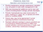 financial analysis operation and maintenance cost