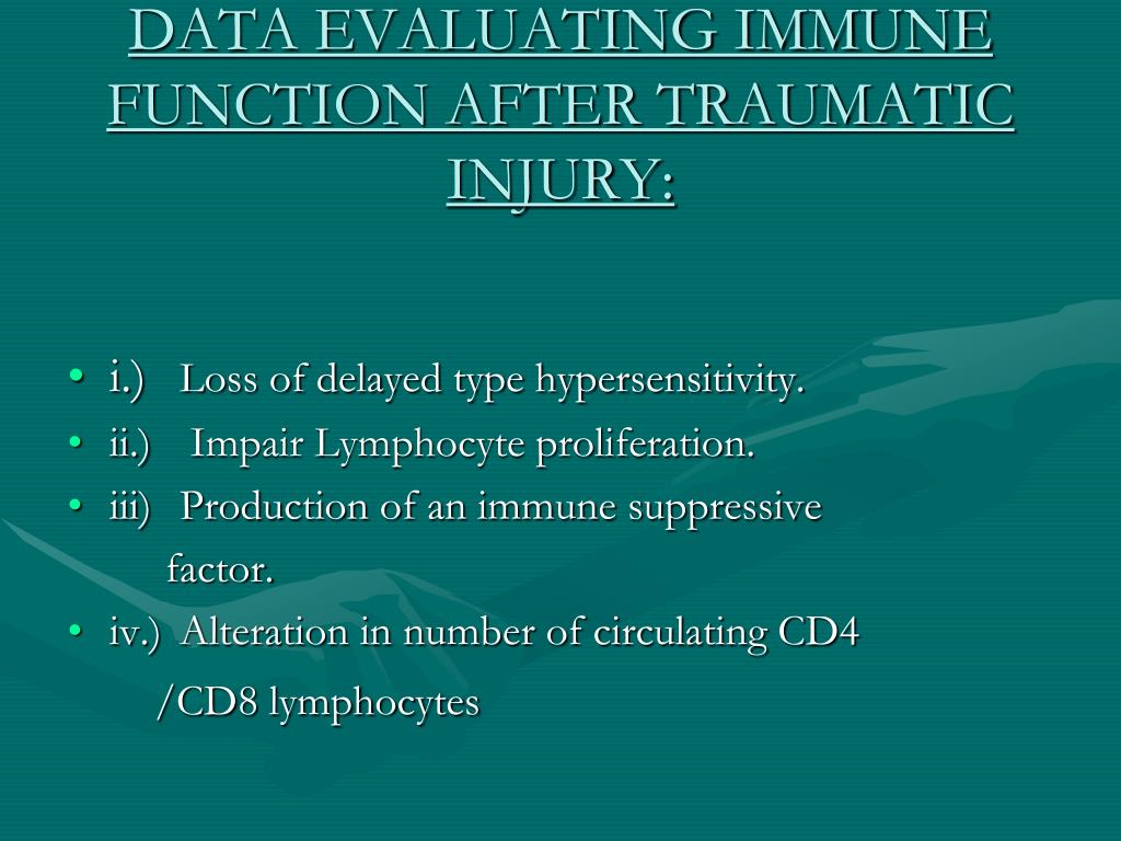 DATA EVALUATING IMMUNE FUNCTION AFTER TRAUMATIC INJURY: