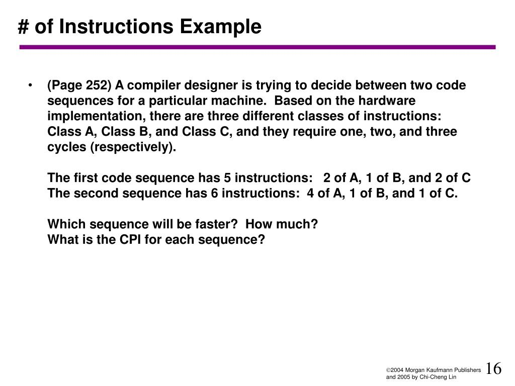 # of Instructions Example