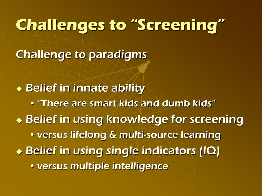 "Challenges to ""Screening"""