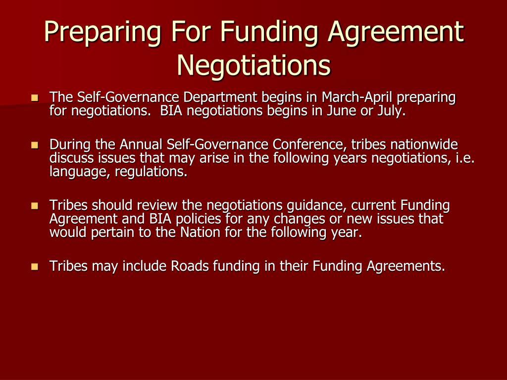 Preparing For Funding Agreement Negotiations