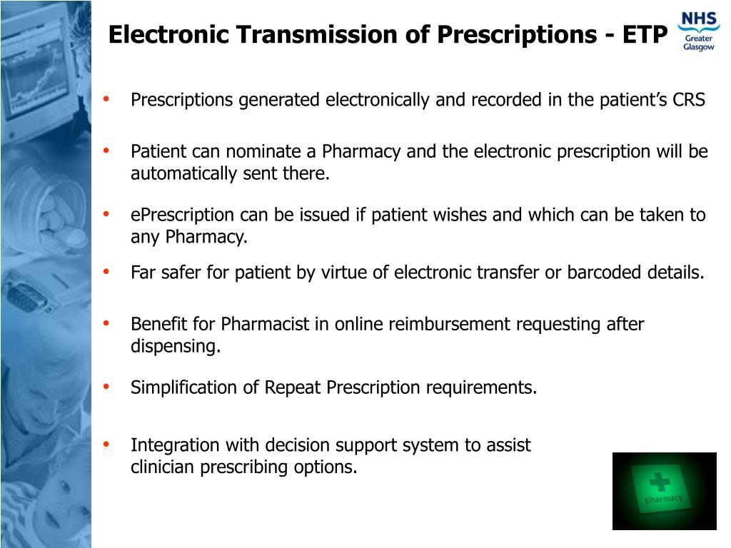 Electronic Transmission of Prescriptions - ETP