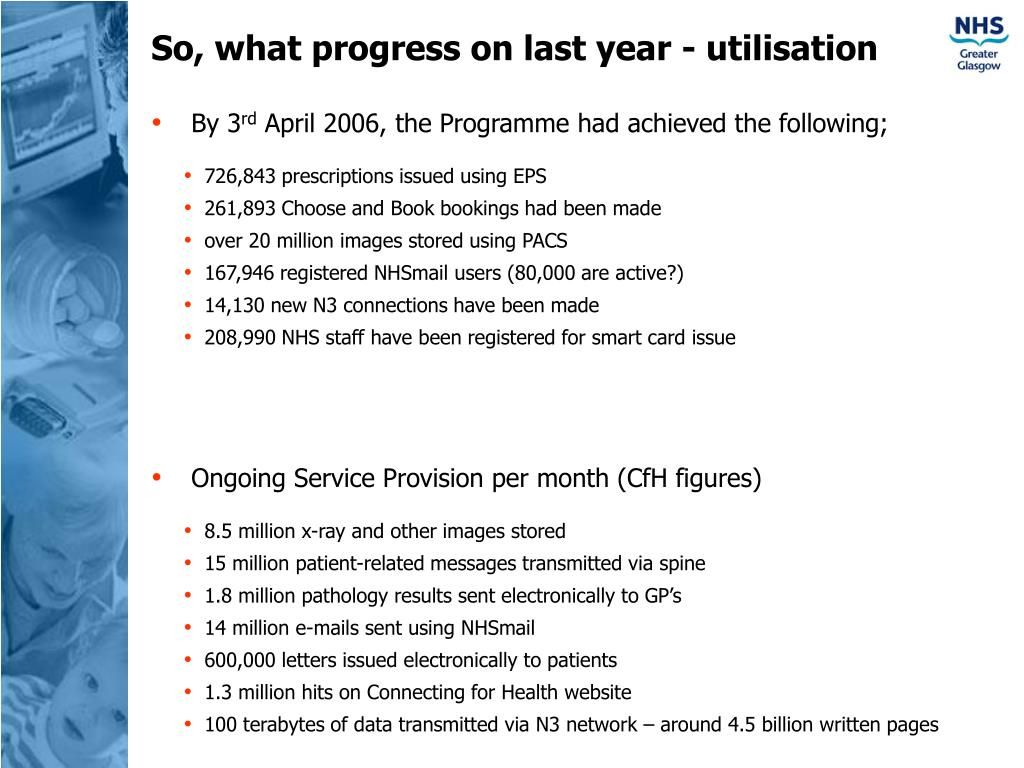 So, what progress on last year - utilisation