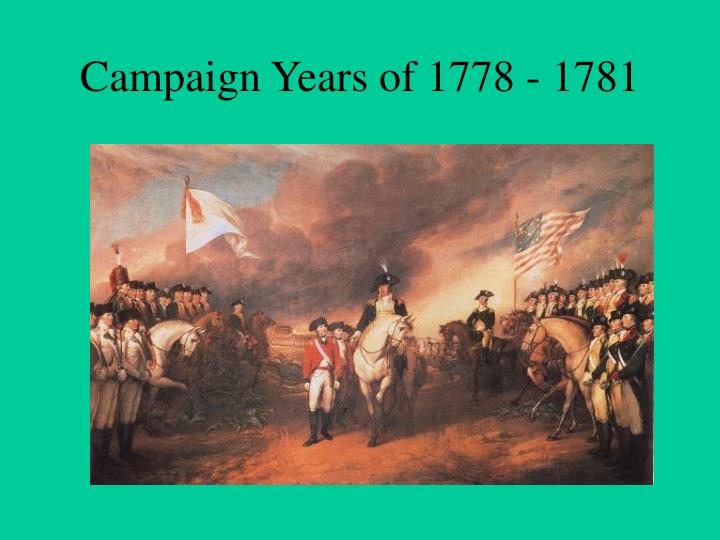 campaign years of 1778 1781 n.