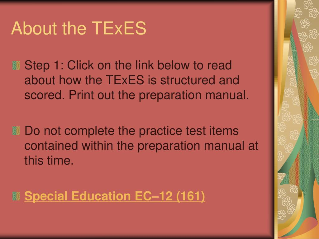 sped texes 161 legislation study An excerpt from the texes special education ec-12 161 study guide, this practice test kit includes two full-length practice tests that align with the texes test framework, allowing you to assess your skills and gauge your test readiness.