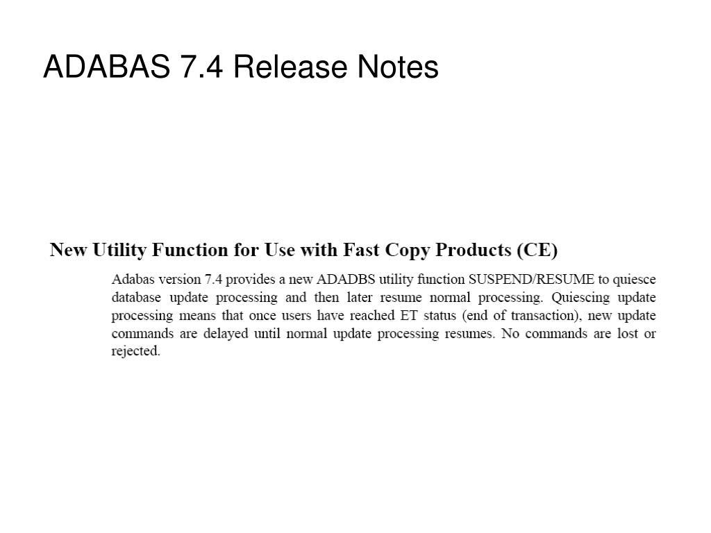 ADABAS 7.4 Release Notes