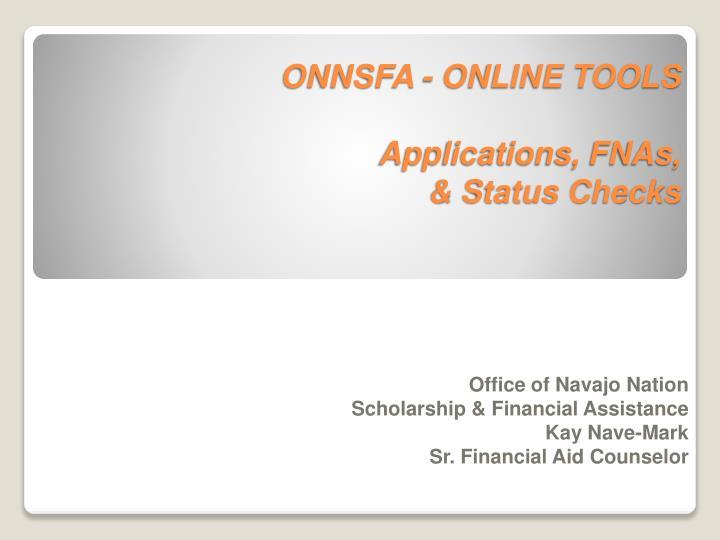 onnsfa online tools applications fnas status checks n.
